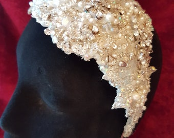 Vintage 1920 Flapper Style Skull cap Head Piece