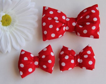 Minnie Mouse Bow, Polkadot Hair Bows, Red Hair Bow, Red Bow Clip, Minnie Hair Clips, Red Baby Bow, Girl's Red Hair Bow, Bow Hair Clip
