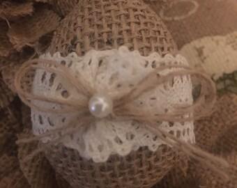Primitive Easter Spring Handmade Jute Burlap & Lace Egg Bowl Filler Shabby Chic
