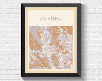 oxford map oxford poster oxford print map of oxford oxford street map