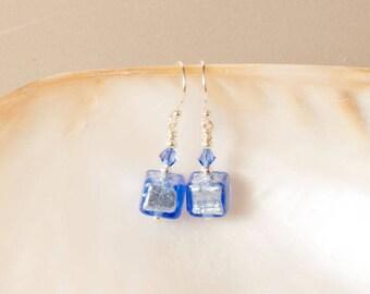 Blue Earrings, Murano Cube Drop Earrings, Swarovski Crystal, Sterling Silver Earrings, Blue Cube Earrings, Silver Foil Murano Glass Earrings