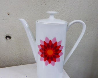 White porcelain coffee maker ARZBERG Germany and numbered, pink and red vintage design motif 1970