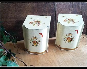 Vintage retro British Baret Ware kitchen storage tins, a set of two