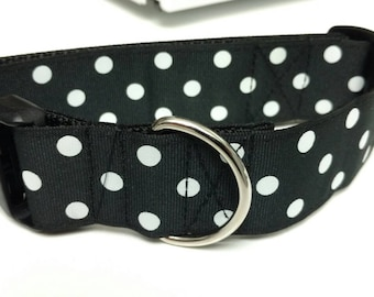 "Black and White Large Polka Dots Dog Collar 1.5"" - READY TO SHIP - Only 1 Available At This Price"