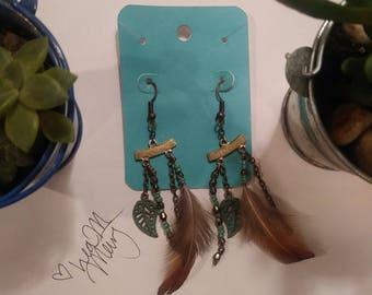 Fairy Earrings (teal, feather)