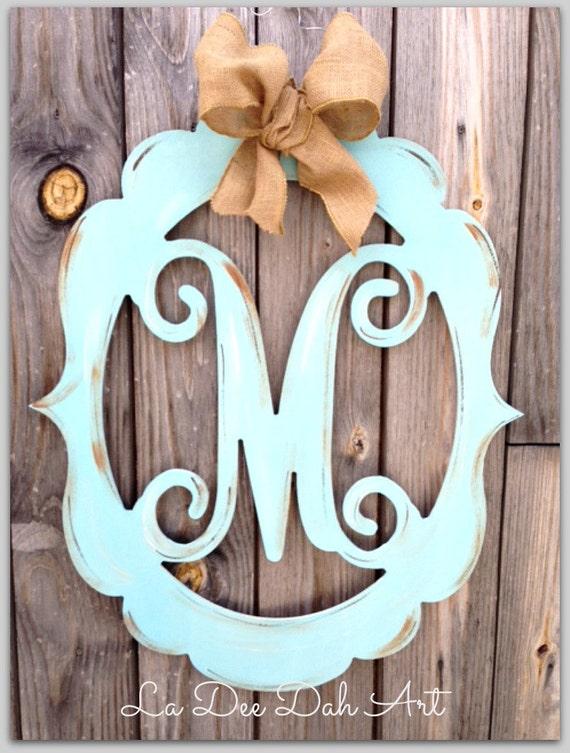Monogram Door Hanger Wedding Monogram Letter Door Hanger