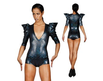 Deep V Neck Bodysuit in Black, Holographic Bodysuit, Futuristic Clothing, EDC Outfit, Dancewear, Leotard, Stage Wear, Burning Man LENA QUIST