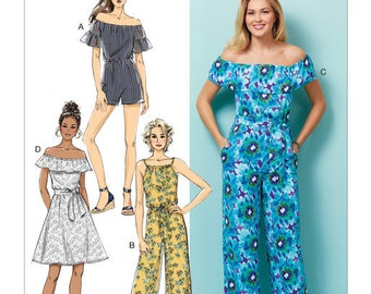 Sewing Pattern for Misses' &Misses' Petite Dress, Romper, Jumpsuit And Sash, Butterick Pattern 6566, Women's, New Pattern, Off the Shoulder