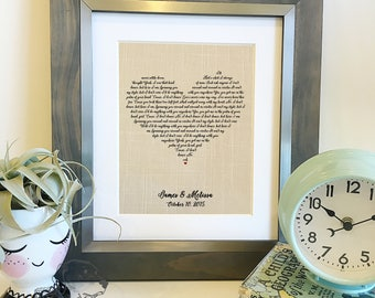 SALE Heart Shaped Lyrics | Customize with your lyrics! | Wedding Song Lyrics Print | Linen 4th 12th Anniversary gift for wife| Frame not inc