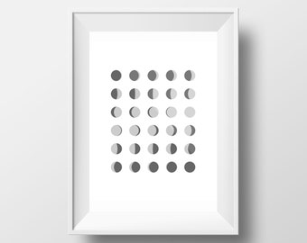 Lunar Phase, Modern, Moonlight, Black and White Poster,Night Sky, Space, Newmoon, Fullmoon, Minimalist Home Decor, Kid's Decor,