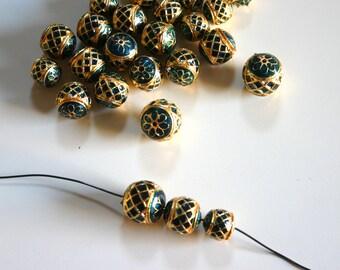 Gorgeous Bottle Green Geometric Meena  - Metal meena bead (1 bead) in 3 sizes 14-18mm