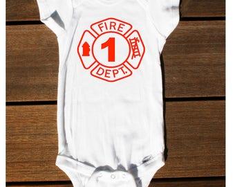 Custom Firefighter Birthday Onesie, Fireman Onesie, Custom Fireman Shirt, Toddler Firefighter Shirt, Personalized Halloween Costume, First