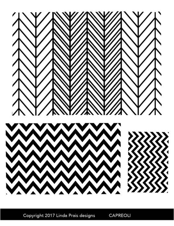 Silkscreen, Carpeoli has chevrons, ripples and waves in a variety of sizes designs perfect for jewelry and silkscreening on polymer clay