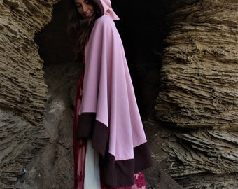 pink cape with hood///pixie cape//night cape//fiery cape//light pink hooded cape//festival clothes//hallowean cape//mid eve claok/gingerwear