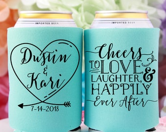 Cheers to Love Laughter & Happily Ever After Can Coolers Wedding Favors for Guests Rehearsal Dinner Engagement Party Custom Party Favor