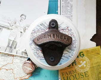 Havana Map Bottle Opener, Wall Mount Beer Opener Made From a Vintage Map of Cuba, Travel Inspired Bar Accessories, Unique Gift Idea