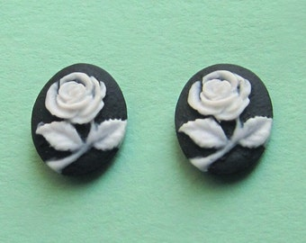 Sterling Silver Black and White Rose Cameo Studs