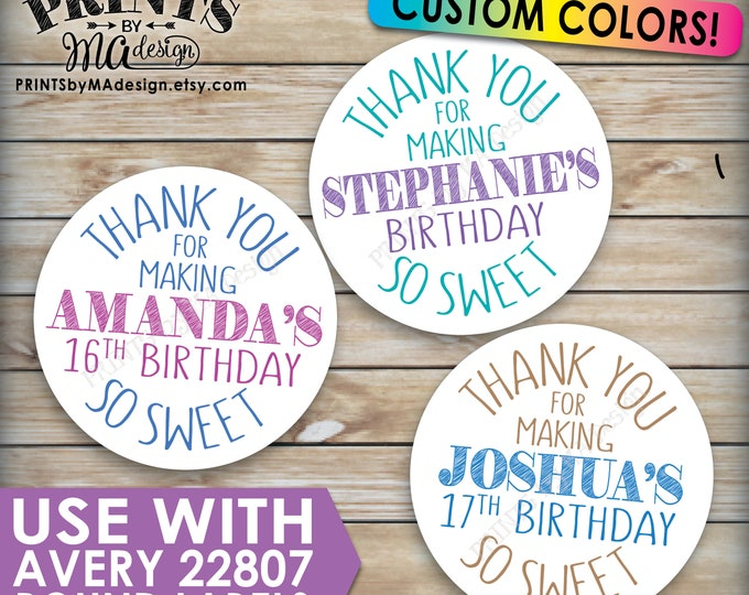 "Birthday Party Tags, Treat Favors, Thank You Favors, Birthday Party Favors, Sweet Treats, Choose Colors, PRINTABLE 8.5x11"" for Avery 22807"