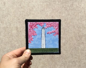Mini Washington Monument with Cherry Blossoms, 4x4 inches, original sewn fabric artwork, handmade, freehand appliqué, ready to hang canvas