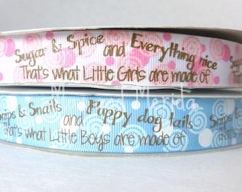 US Designer Ribbon - Sugar and Spice Ribbon - Puppy Dog Tails Ribbon - Snips Snails - Grosgrain Ribbon - Bow Making Supplies - Dogs babies