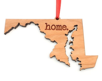 Maryland home. Christmas Ornament - MD Maryland State Ornament - Home Christmas Ornament