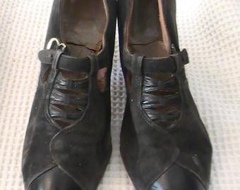 1930's Vintage Women's Black Leather Shoes