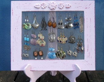 Light Pink Shabby Chic Earrings Holder - Its All In The FRAME