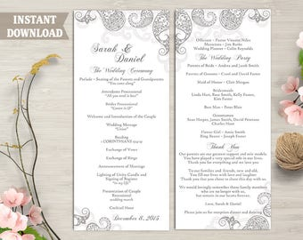 Wedding Program Template, Printable Bollywood Wedding Program DIY Indian Paisley Program Gray Program Card Editable Instant Download DG40