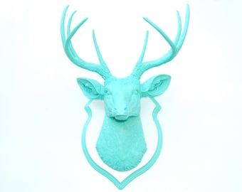 Faux Taxidermy - Aqua Faux Deer Head- Wall Mount -Matching Shield Mount D6363/DS0163