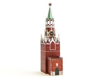 Spasskaya Tower, assembled paper model || Moscow Kremlin clock tower || height 9 inches or 23 cm