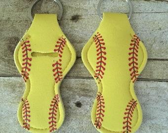 Keychain Chapstick Holder Softball