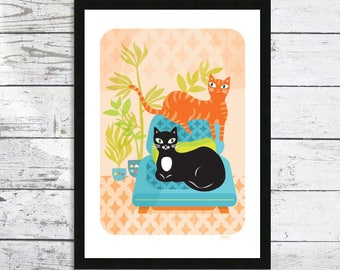 House Cats with plants - Cat print - Cat art print - Cat lover gift - Cat picture