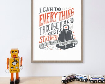 Bible Print, Philippians 4:13, Christian Decor, Scripture Art, Bible Wall Art, I Can Do Everything Through Him Who Gives Me Strength
