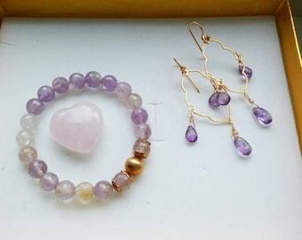 Spruce it up - amethyst and ametrine earrings, bracelet set