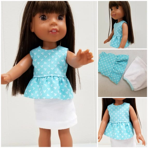 Cotton Skirt and Ruffeled Top for 14.5 Inch Doll