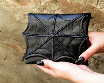 Spider web makeup cosmetic bag for purse, faux leather make up bag, cosmetic  bag, vegan bag, small makeup bag, goth makeup bag, black bag