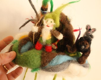 Waldorf Mobile Ornament with Forest Gnome, Magic Bear and Wise Mouse, Needle felted toy, decoration for nursery, miniatures, felted story