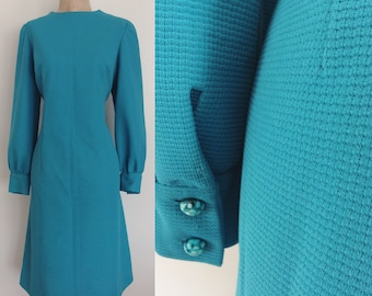 1970's Turquoise Polyester Shift Dress Plus Size XL by Maeberry Vintage