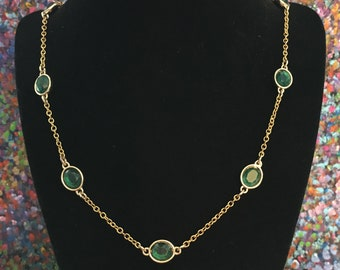 Emerald glass & gold necklace