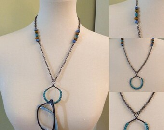 Designer Eyeglass Necklace Holder, Antique Silver Etched Chain, Lanyard, Turquoise,Czech Glass, Sunglasses, Eyewear, Free Shipping in USA