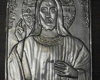 Icon, aluminium foil relief, handmade, Jesus