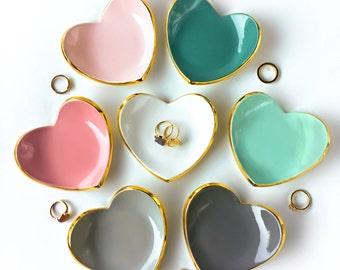Gold Rim Heart Ring Dish - Ring Holder, Bridesmaid Gift, Wedding Favor, Sweet 16, Mother's Day, Ceramic Ring Dish