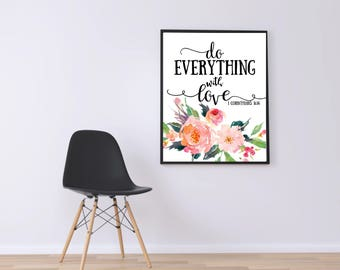 WATERCOLOR -Do Everything With Love-Bible Verse- Wall Art