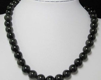 Necklace 19 inch IN black Obsidian 12mm and 925 Silver