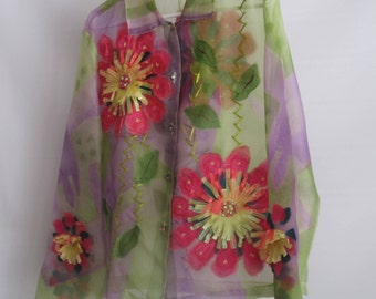 Sheer Nylon Blouse, Very Intricate w/Bright Colors & Rhinestone Buttons