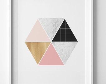 Printable art, hexagon print, pink wall art, minimalist art, digital art, pink hexagon art, printable wall art, digital print, coral print