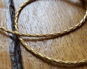 50cm Gold geflochtene Schnur, Kunstleder, 3mm Durchmesser