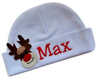 Personalized Christmas Rudolph the Red Nosed Reindeer Hat Christmas Baby Gift for Boys with Embroidered Name