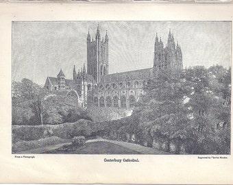 "Antique Original Engraving,  1897 Wood Engraving ""Canterbury Cathedral"", Vintage Engraving by  Charles Meeder, Antique Paper Ephemera"