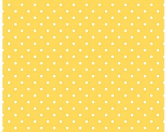 Yellow Swiss Dots Fabric c670 50 Riley Blake Designs - Small Polka Dot Fabric - Yellow Fabric - White Fabric Quilting Cotton - Quilt Cotton